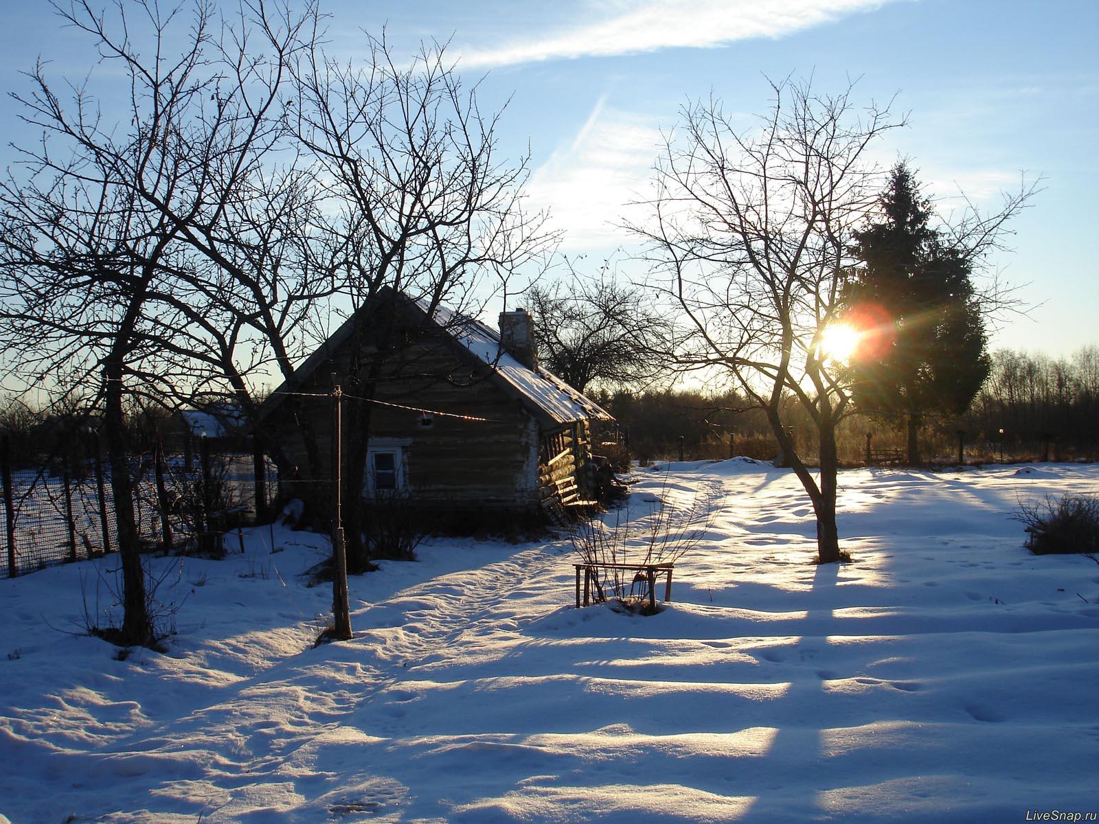 пейзаж с баней  Деревня