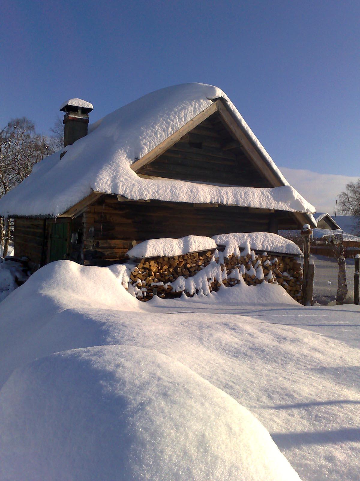 после снегопада  Деревня