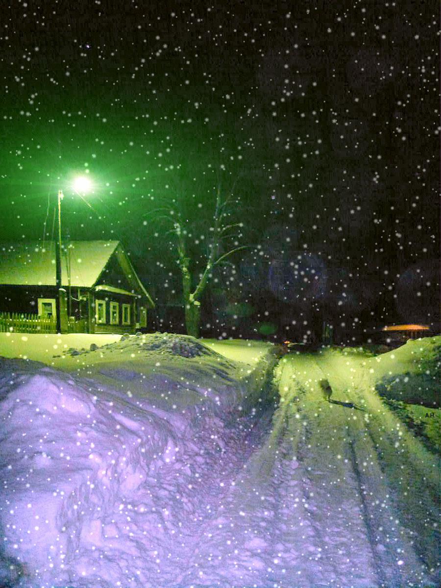 Зимняя ночь в деревне  Деревня