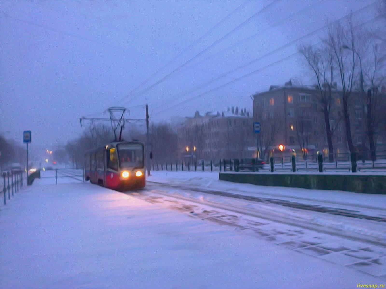 голубой снег трамвай