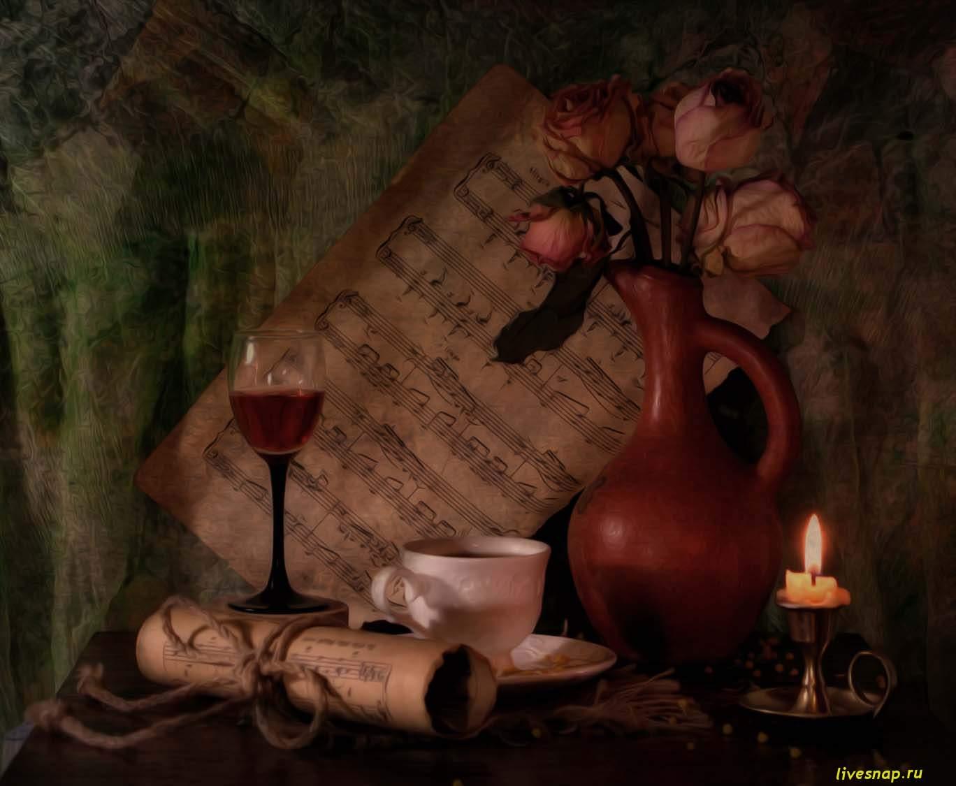 готовая работа розы ноты свеча
