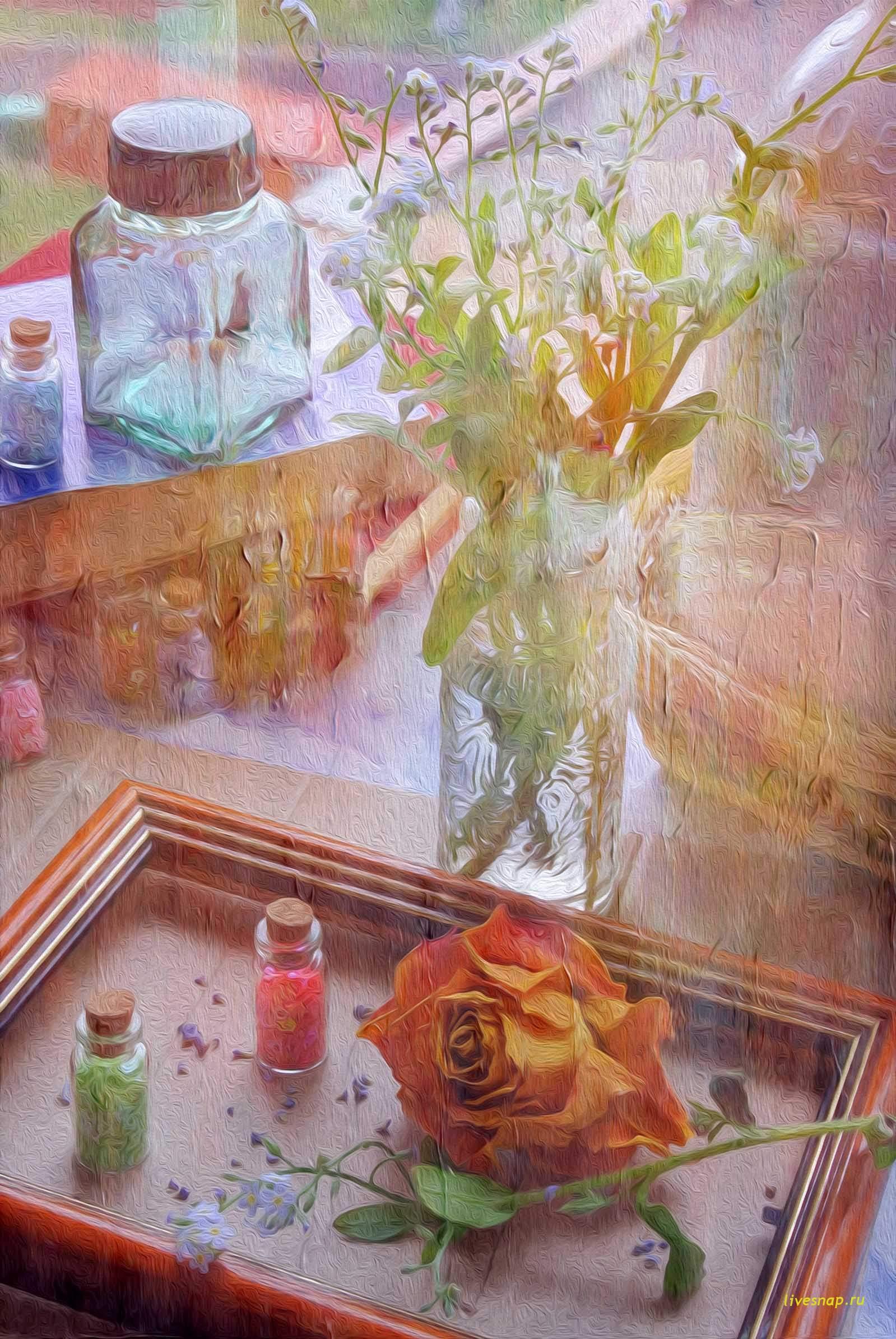пастель с розой и незабудками