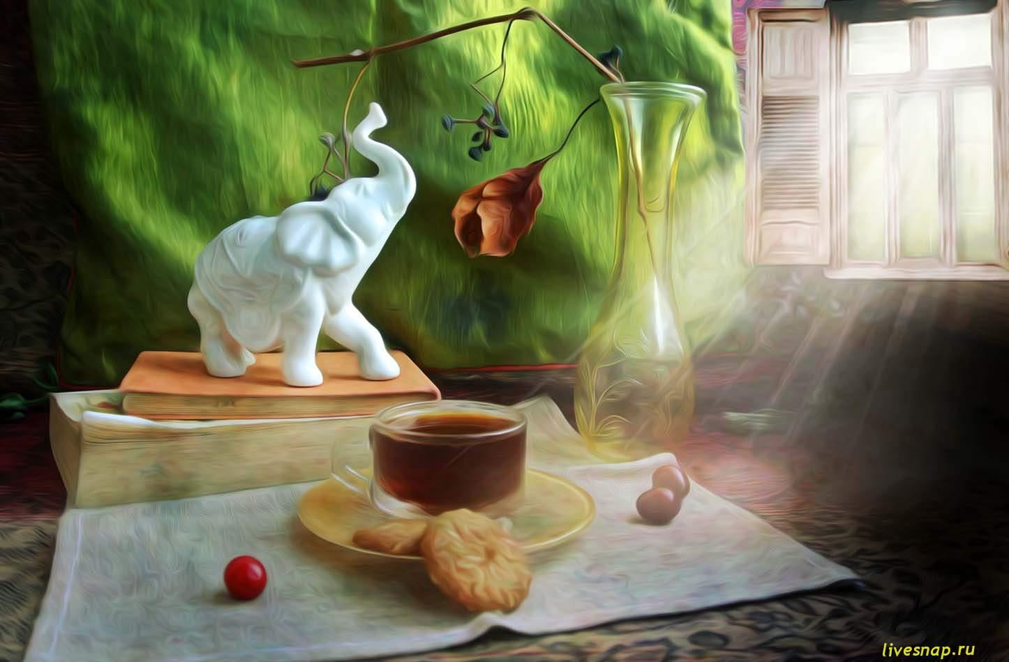 слон и чай с печеньем