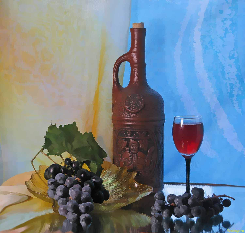 натюрморт, вино, виноград